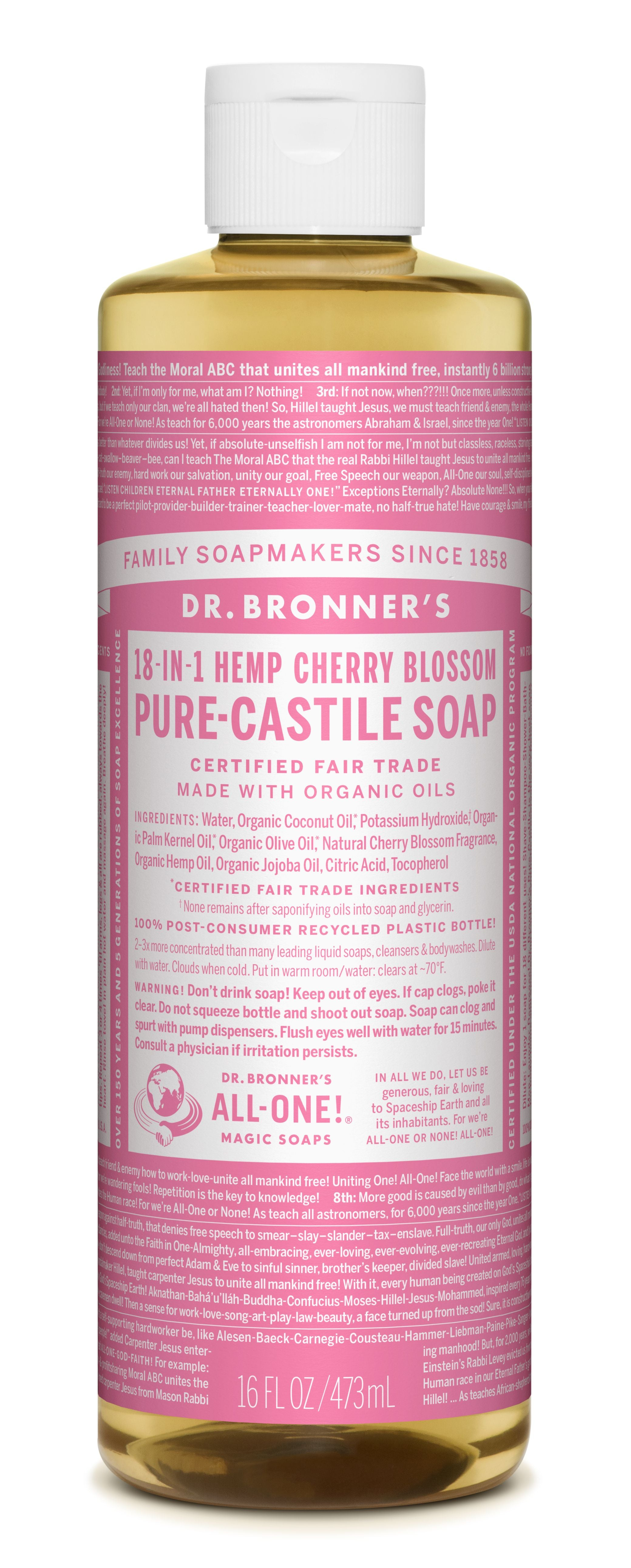 Dr Bronner's 18-In-1 Hemp Cherry Blossom Pure Castile Soap 473ml