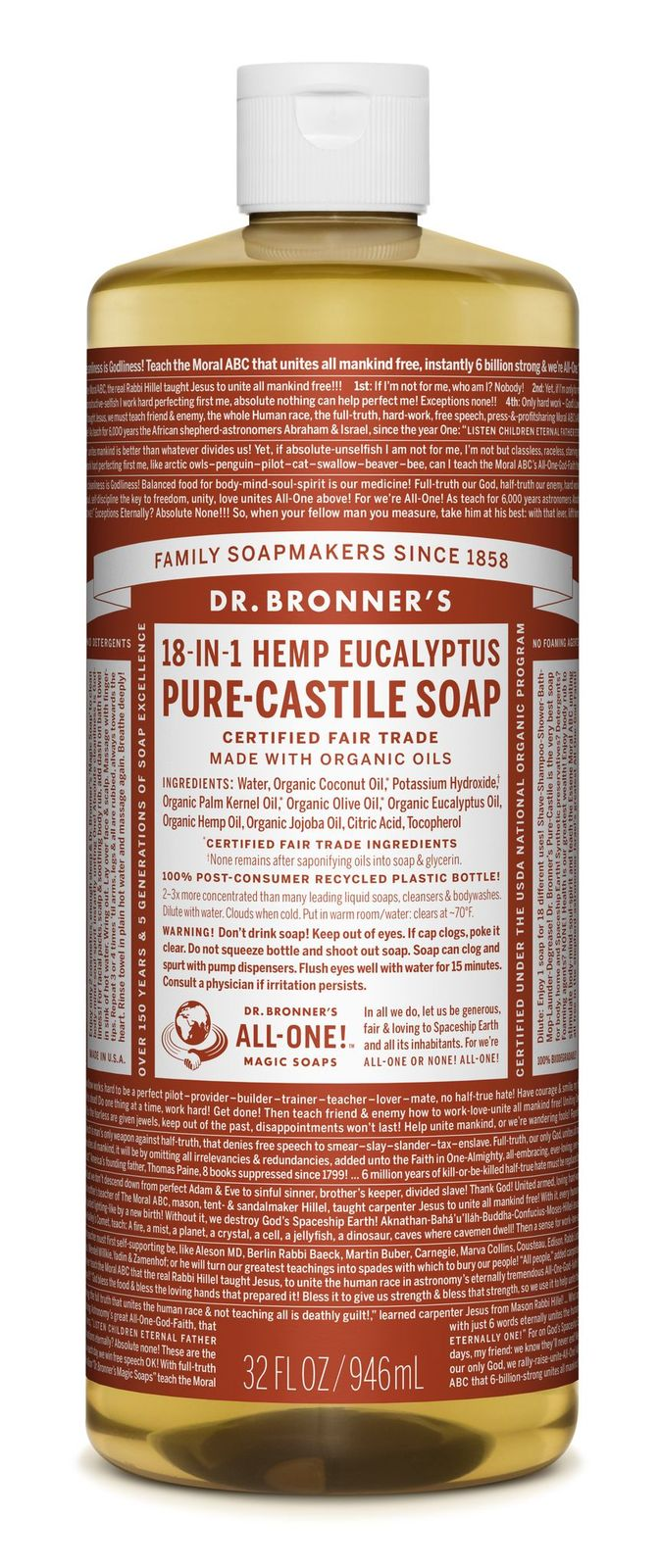 Dr Bronner's 18-In-1 Hemp Eucalyptus Pure Castile Soap 946ml