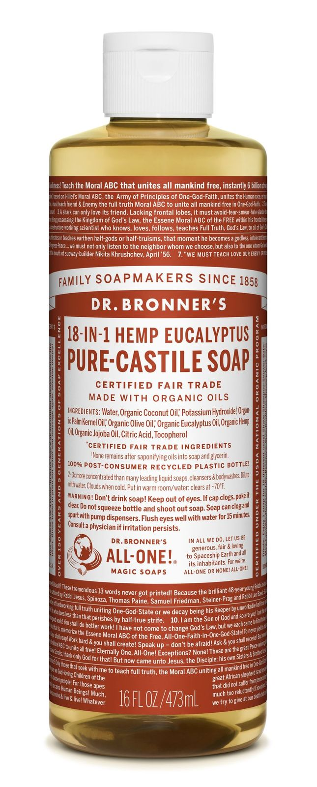 Dr Bronner's 18-In-1 Hemp Eucalyptus Pure Castile Soap 473ml