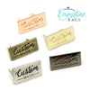 "Metal Bag Labels ""Custom Made"" Large in 4 finishes by Emmaline Bags"
