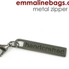 "Metal Zipper Pulls ""Handcrafted"" in 6 finishes by Emmaline Bags"