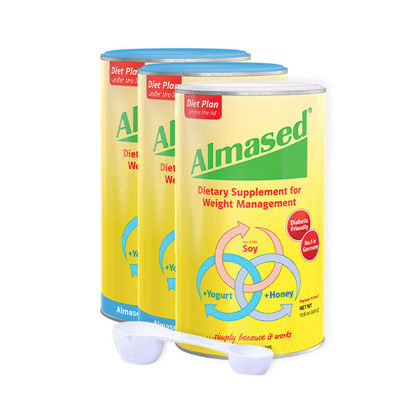 3 cans of diet plan almased dietary supplement for weight control soy yogurt honey
