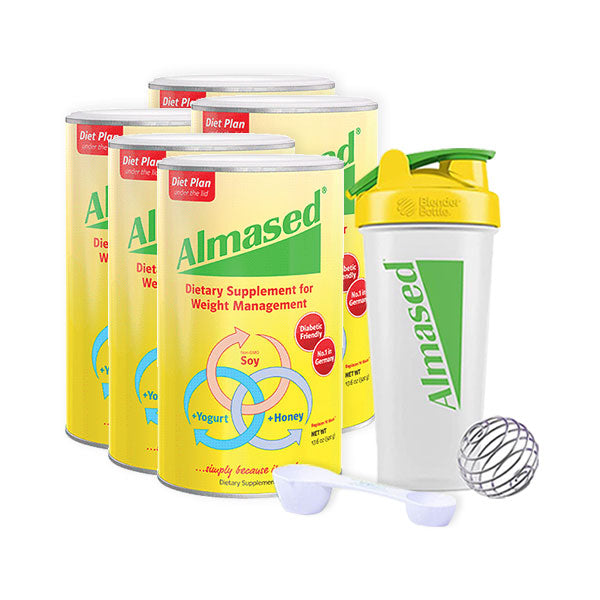 5 Almased original flavor cans a blender and a spoon