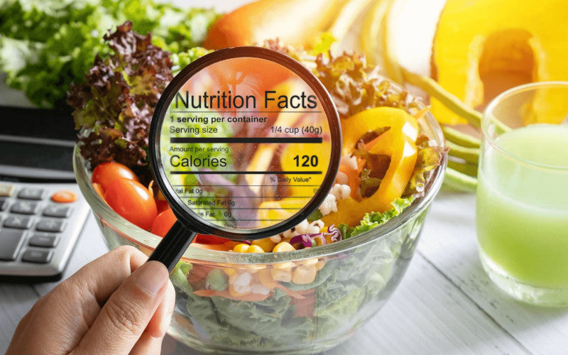 a calorie nutrition magnifying glass pointing to a healthy salad bold