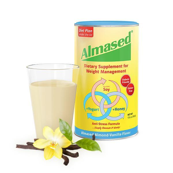 can of almased diet plan dietary supplement for weight control with a glass of pink drink