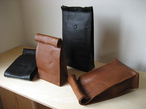"Leather bag like paper bag ""Sack"" favor-POCO 