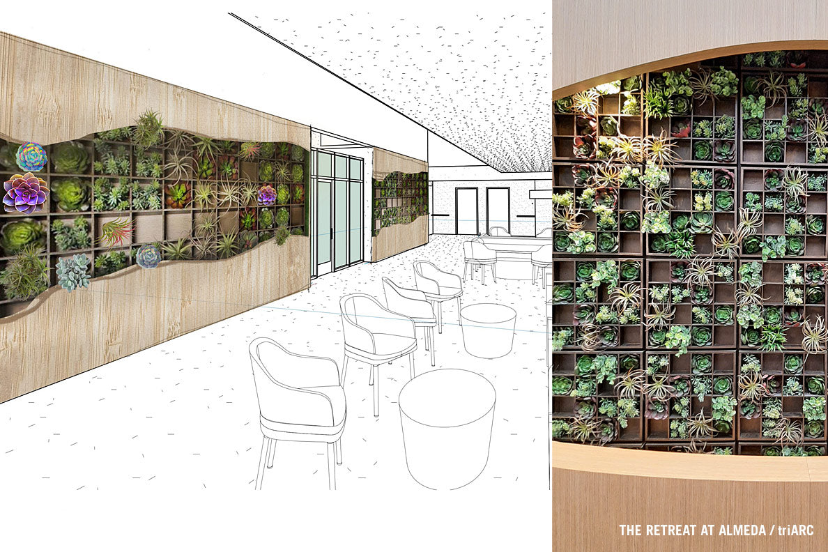 Architect rendering and close up of Pixelated Green Wall.