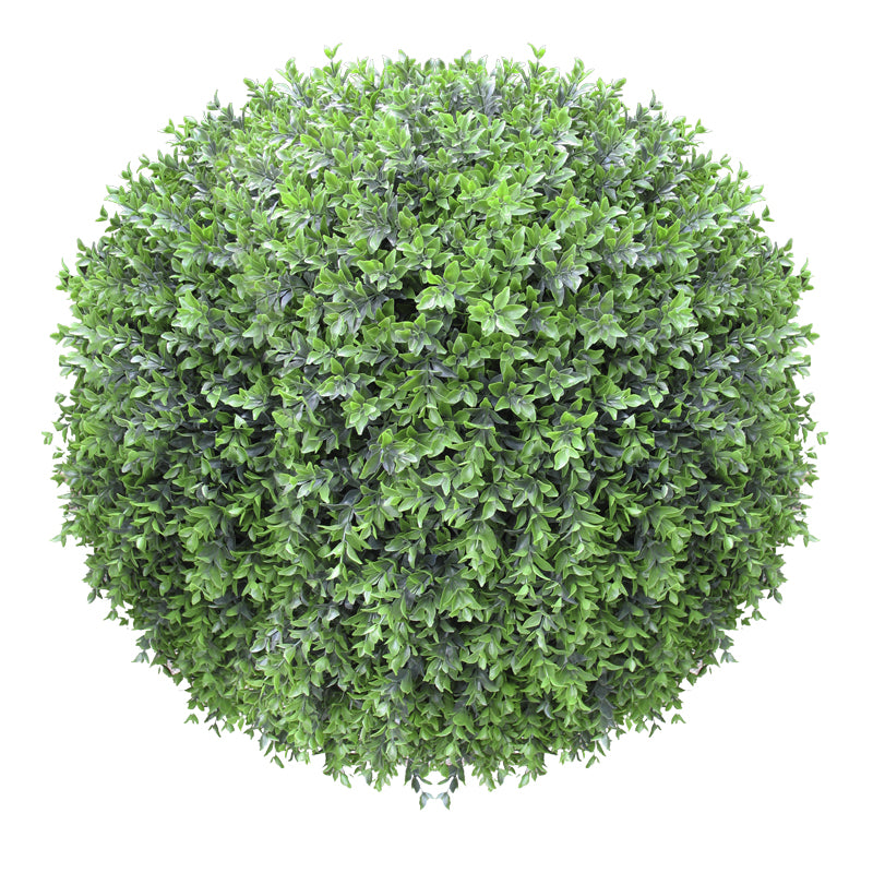"Boxwood Ball in Barrel Planter, Wood Grain, 30""D"