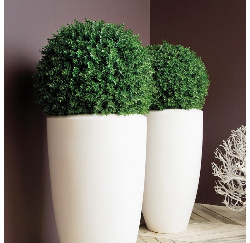 "Boxwood Ball in Barrel Planter, Satin White, 30""D"