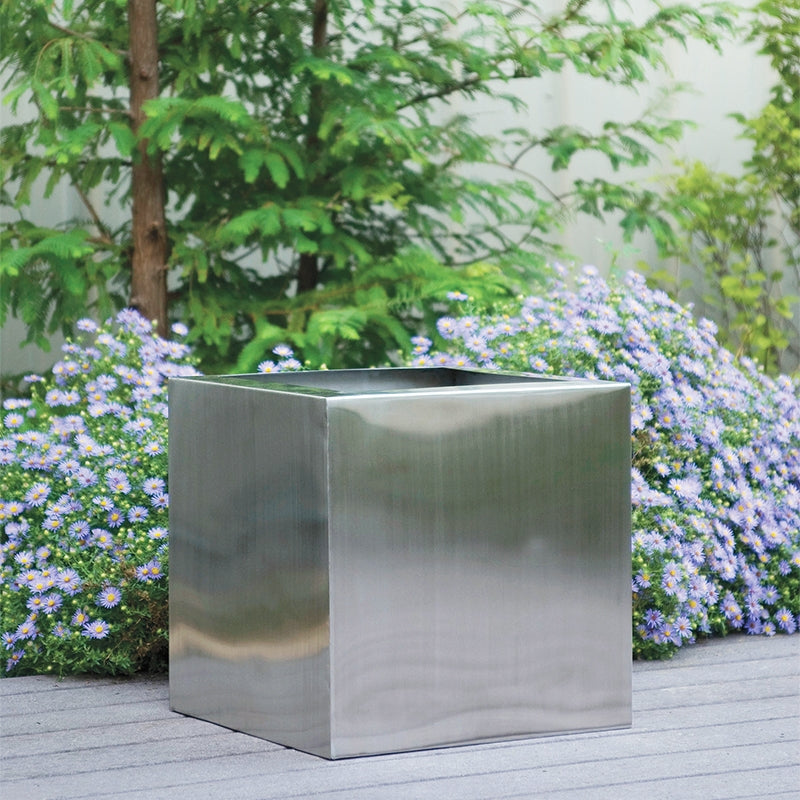 "Stainless Steel: Square 18""SQ Planter, Brushed"