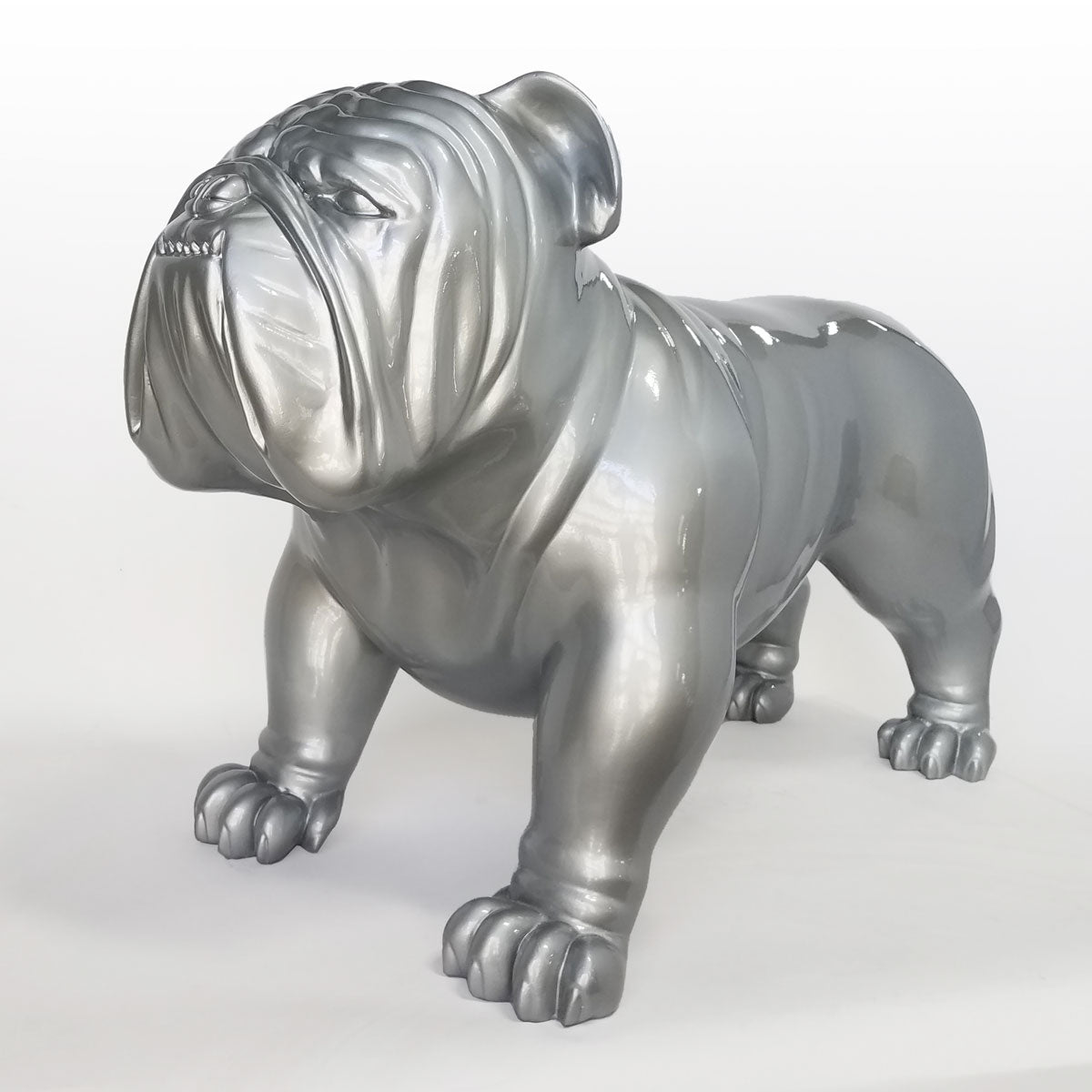 Silver Bulldog three quarters view facing left