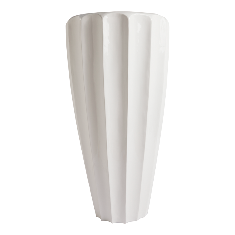 Pia Scalloped Planter, White