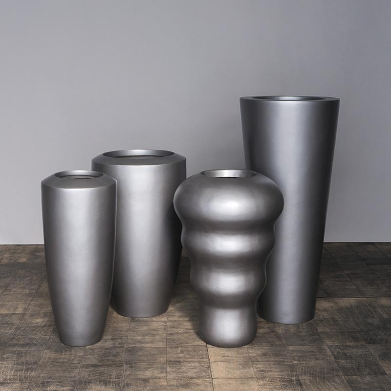 Fiberglass: Barrel Planter, Satin Pewter, SM