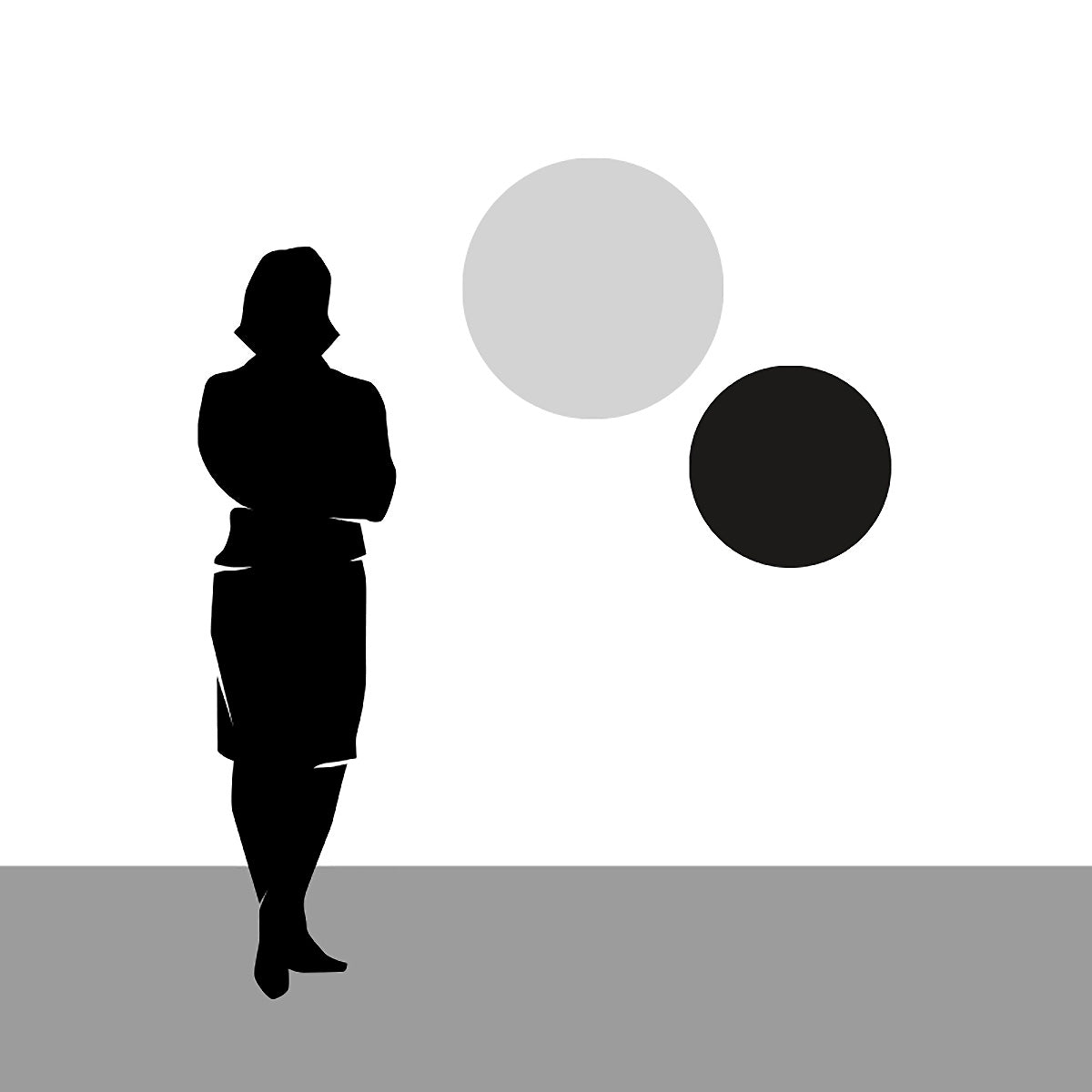 Diagram showing the size of the 15.4 inch Diameter Pond Wall Art in relation to a person silhouette.
