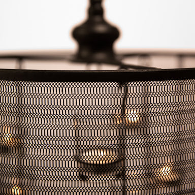 "Close up of Aria 16"" diameter Candle Chandelier (black)."