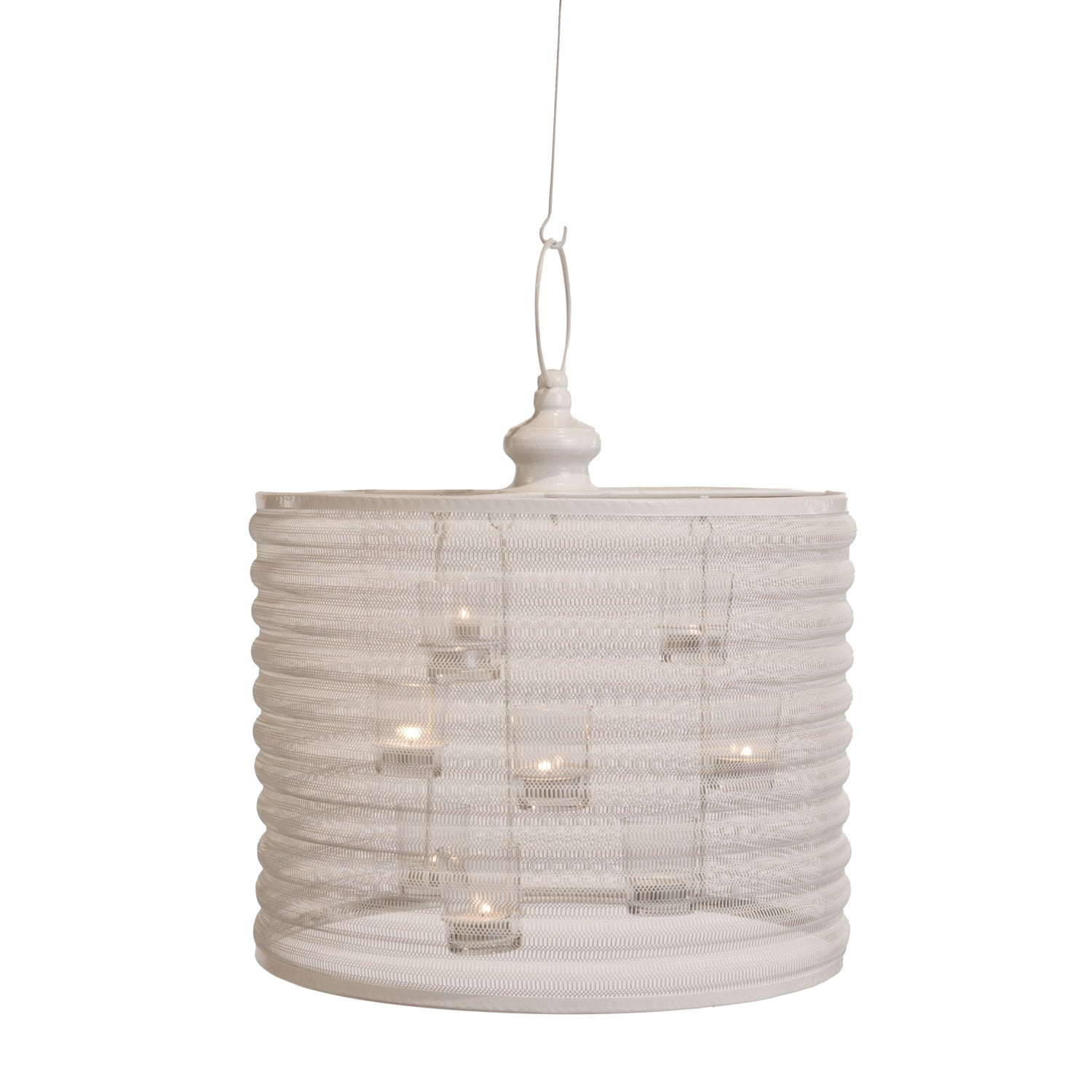 Aria Candle Chandelier, 16-inch diameter, white isolated on a white background.