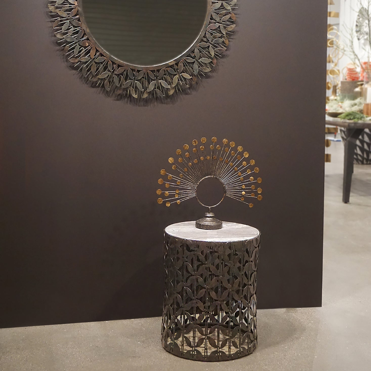 Gianna Accent Table, Blackened Iron