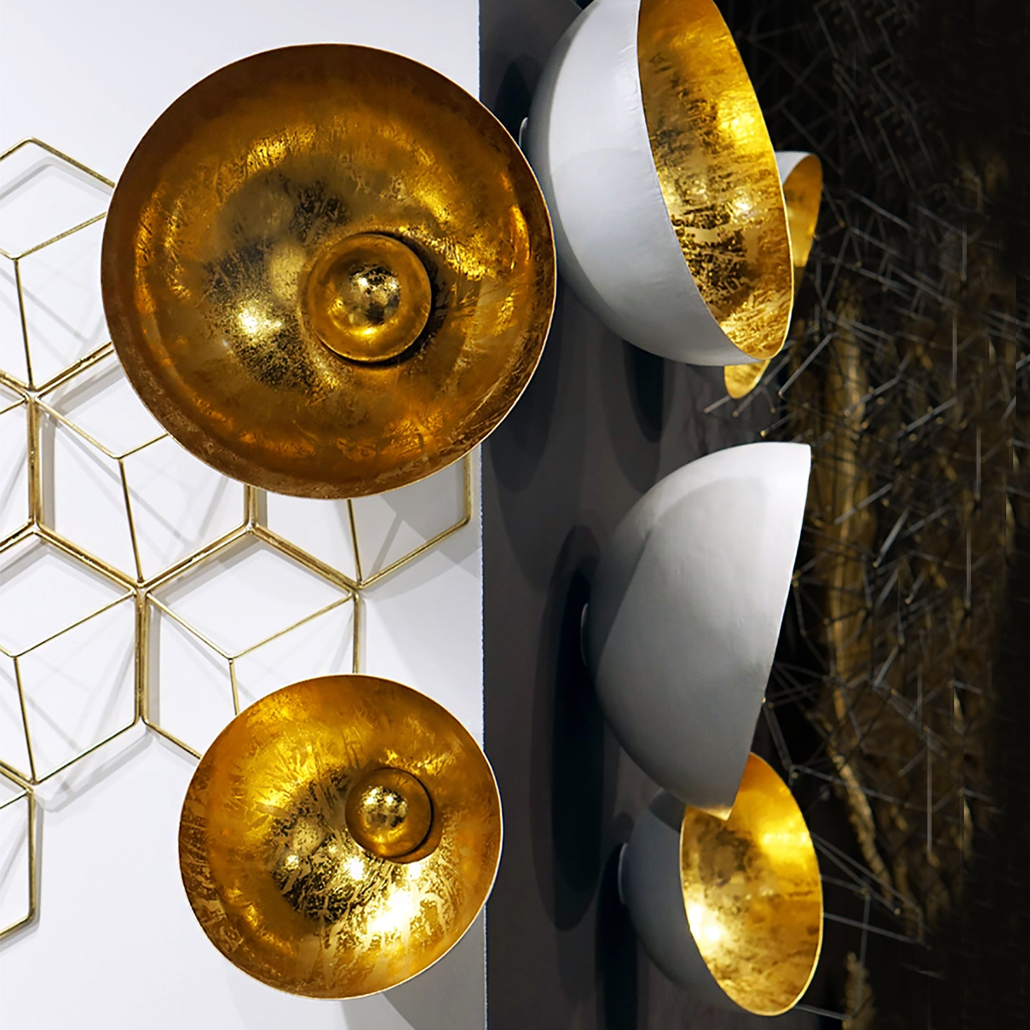 Natsu Gold Wall Art by Gold Leaf Design Group in Atlanta Showroom front and side view.