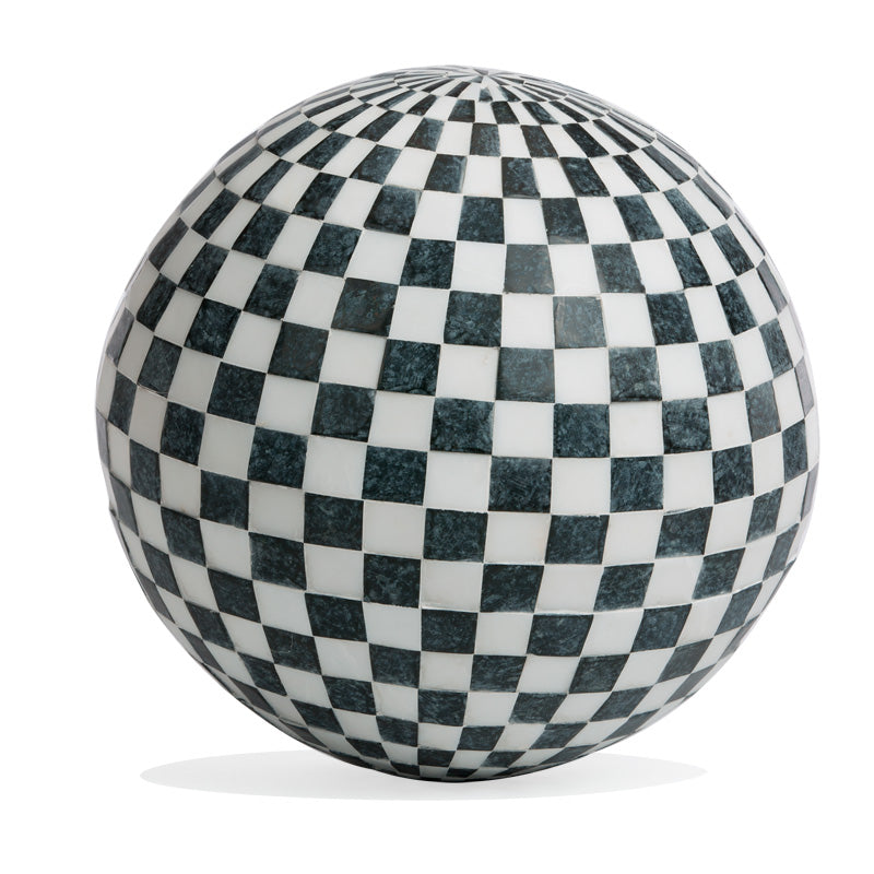 "Stone Sphere 16.5""D Inlay, 'Check'"