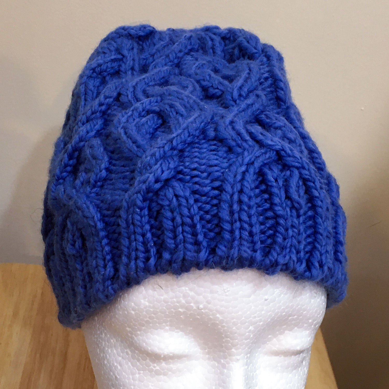 Hat, Blue Cabled Knit w/ Removable Pom Pom