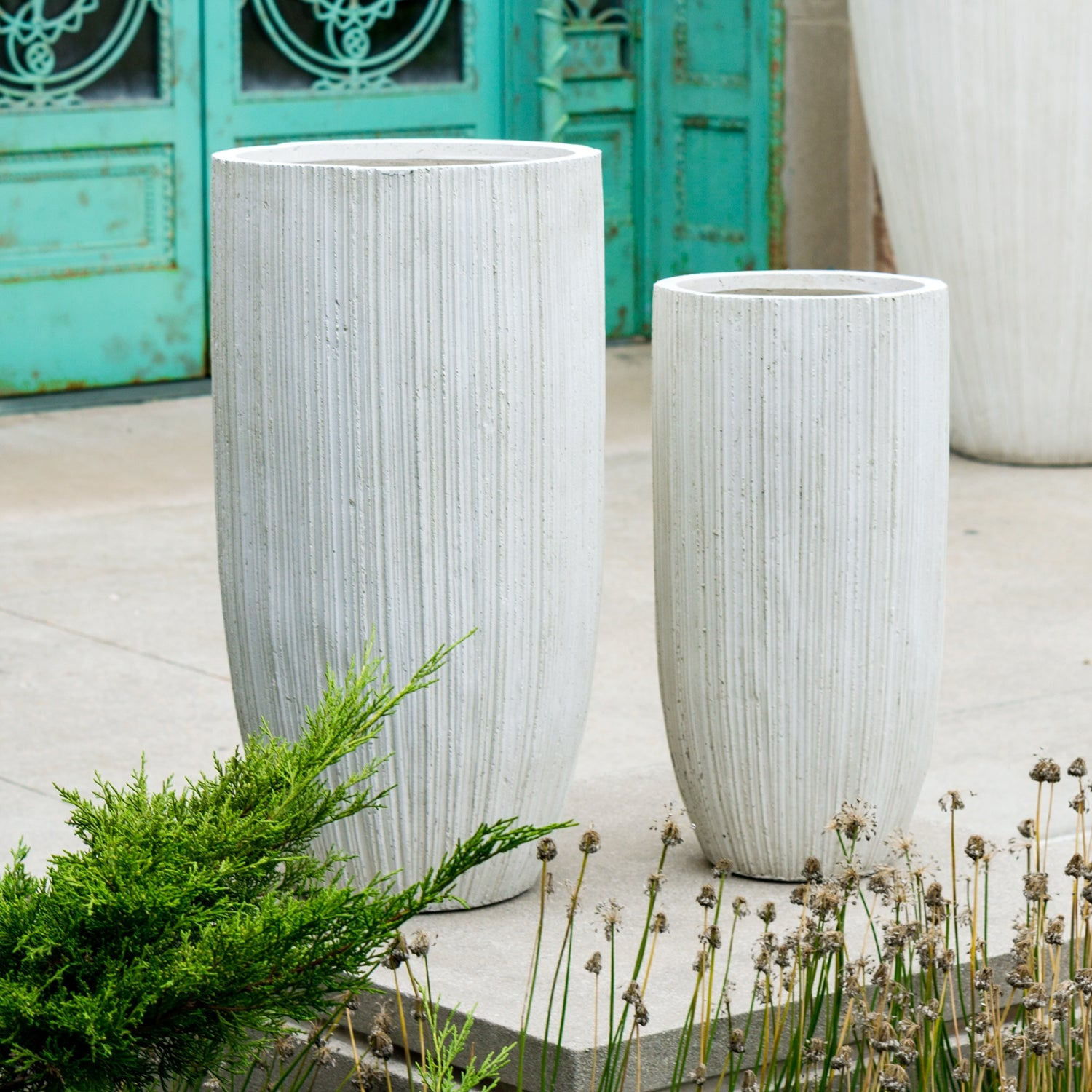 Distressed Texture: Linea Medium Planters, Set/ 2