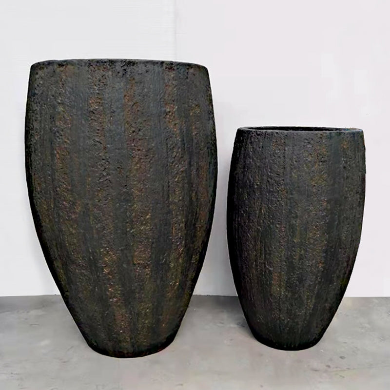 "Distressed Texture: Yama Brown Planter, 47.5""H"