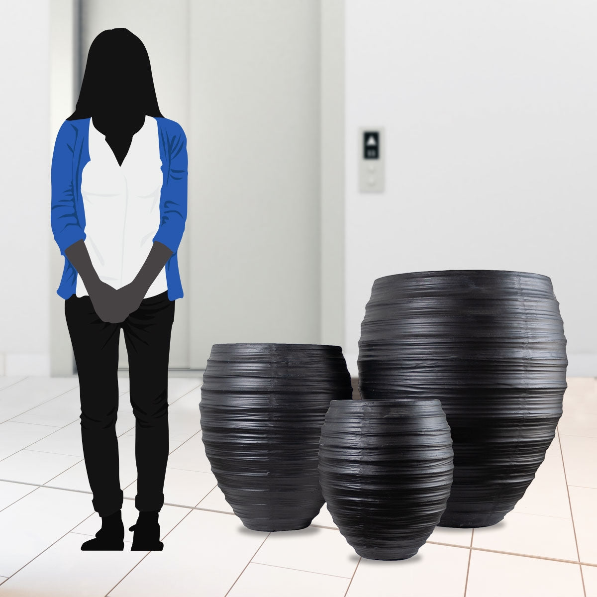 Distressed Texture: Kuro Planters, Set/ 3