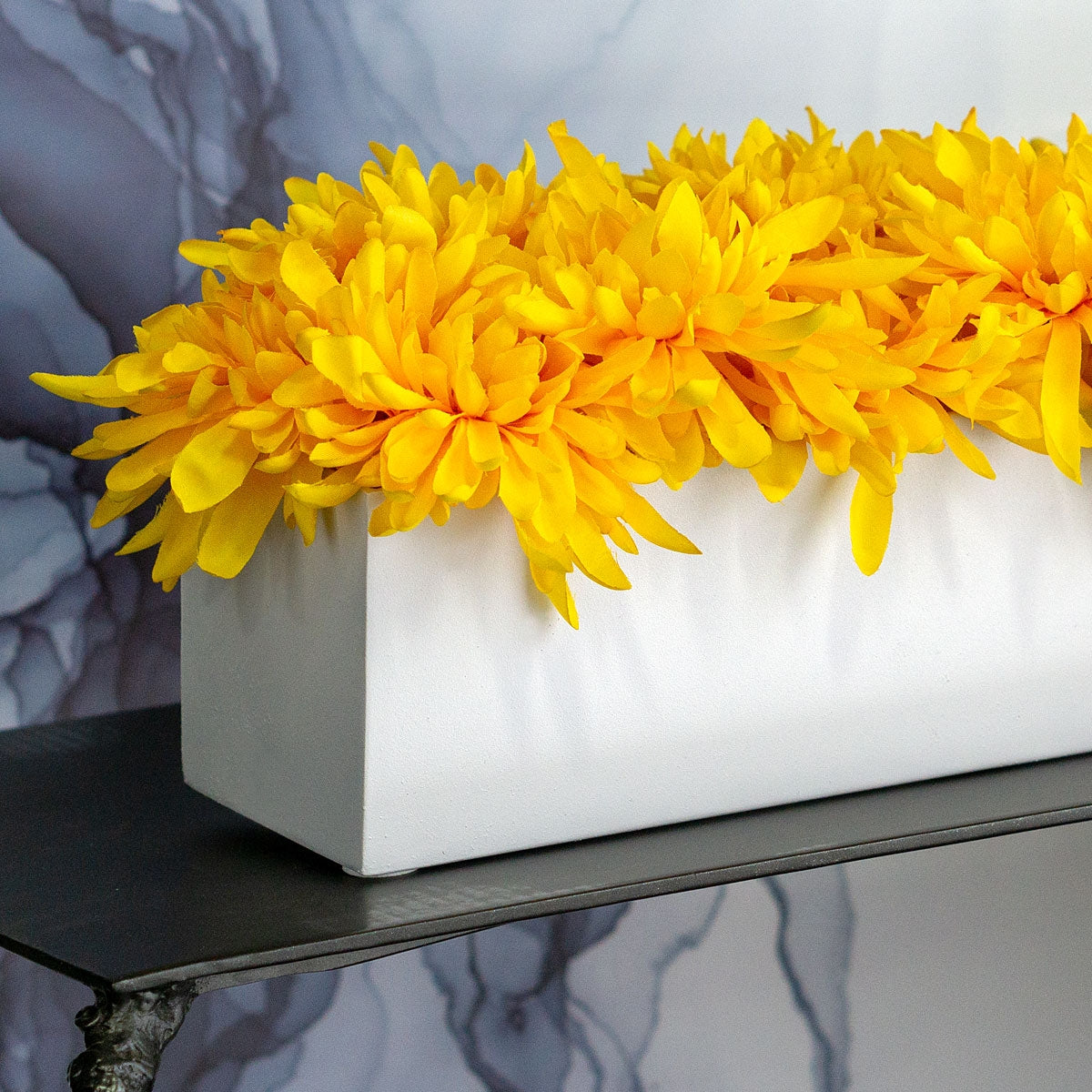 Yellow Mums in Rectangle Vase