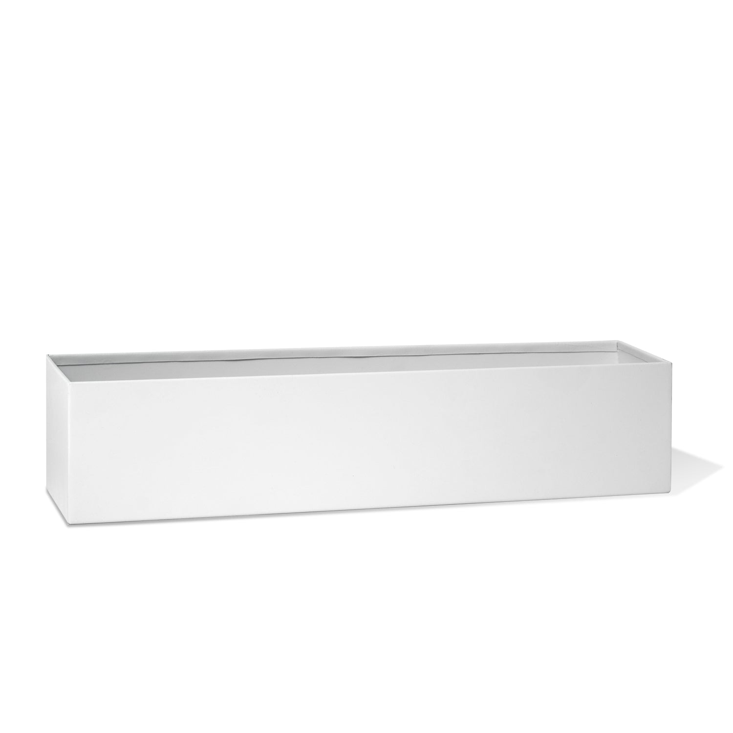 "Rectangle Table Vase 18""L, White Matte"