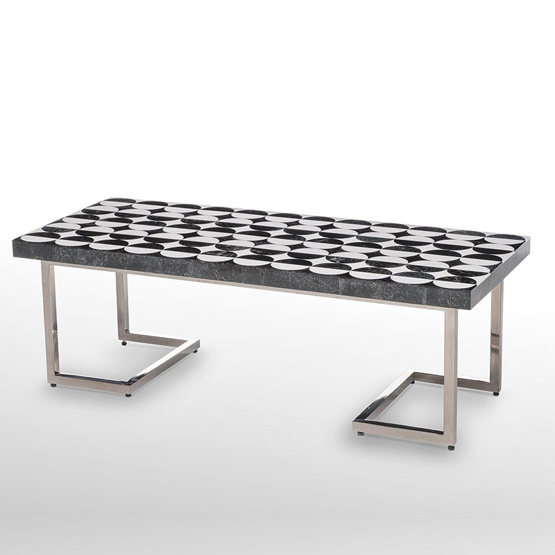 Dots Coffee Table, Stone Inlay