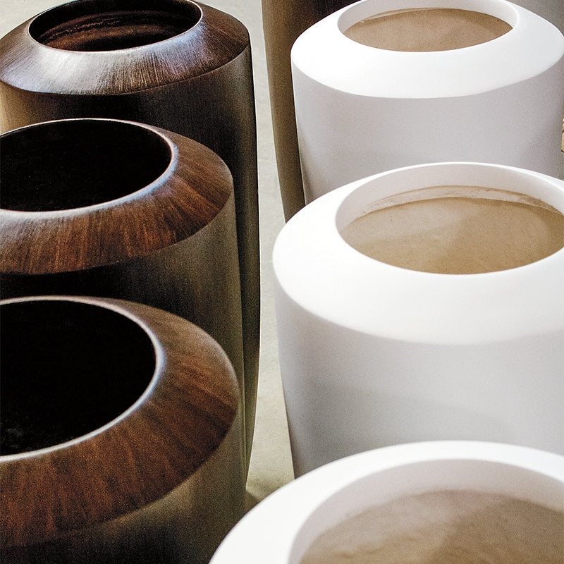 Fiberglass: Barrel Planter, Wood Grain, SM