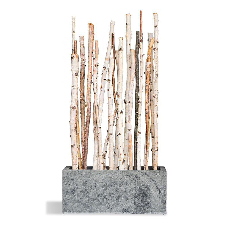 Birch Poles in Slate Veneer Planter