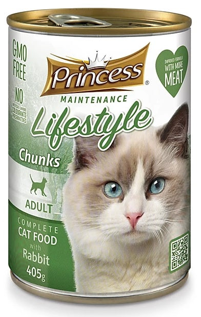 7 cans Princess Adult Cat Rabbit Chunks 405g
