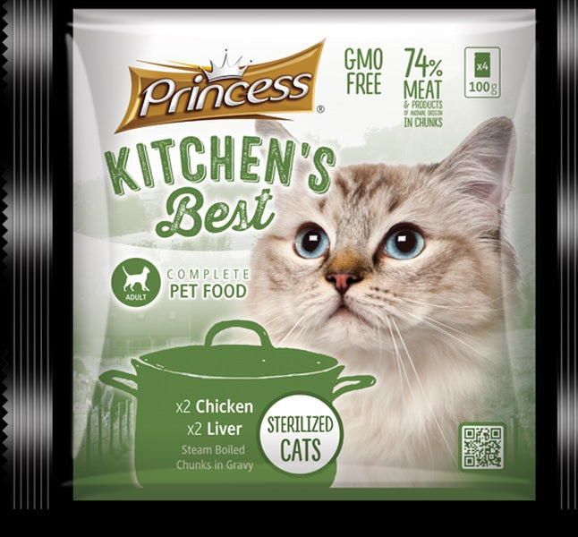 Princess Kitchen's Best Adult Cat x2 Chicken, x2 Liver - 4pkt x 100g