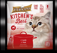 Princess Kitchen's Best Adult Cat x2 Lamb, x2 Veal - 4pkt x 100g