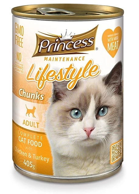 7 cans Princess Adult Cat, Chicken & Turkey Chunks 405g