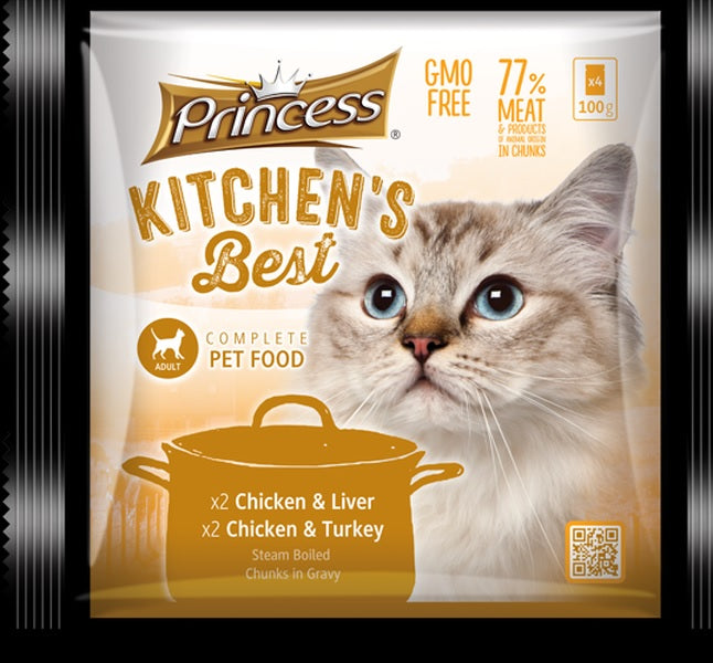 Princess Kitchen's Best Adult Cat x2 Chicken & Liver, x2 Chicken & Turkey - 4pkt x 100g