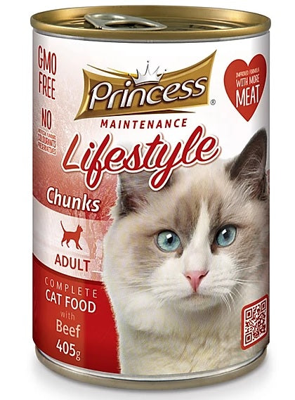 7 cans Princess Adult Cat, Beef Chunks 405g