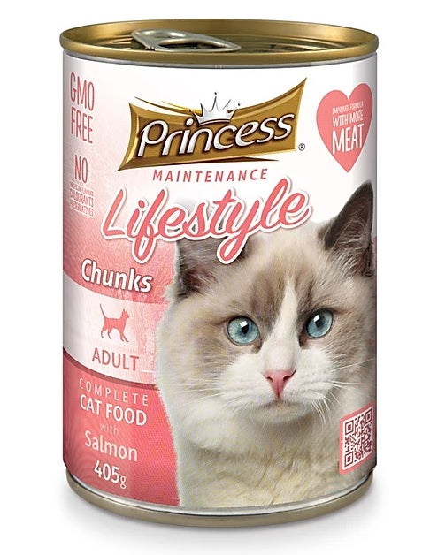 7 cans Princess Adult Cat, Salmon Chunks 405g