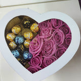 Pink Roses/Chocolate Mix in White Heart Box