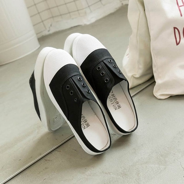 Adult canvas casual shoes woman flats 2019 solid comfortable flat with sneakers women shoes slip-on ladies shoes women sneakers