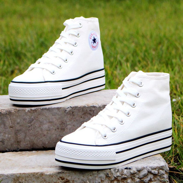 High-top 5.5cm Platform Canvas Women Shoes Lace-up Ladies Casual Sneakers Outdoor Breathable Leisure Footwear