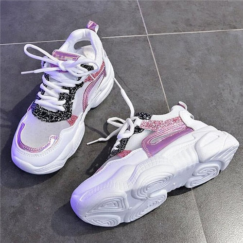 Mhysa 2019 New Women Shoes Spring Sneakers Women Fashion Bling  Platform Shoes Ladies Footwear Breathable Mesh Sneakers T895