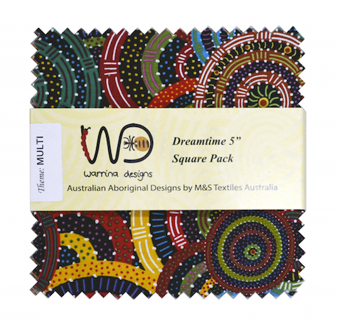 "The Dreamtime 5"" Square packs in many colors are comprised of 20 different prints of Australian Aboriginal fabric, 2 squares of each print for a total of 40 squares."