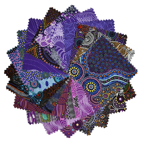 "The Dreamtime 5"" Square packs in purples are comprised of 20 different prints of Australian Aboriginal fabric, 2 squares of each print for a total of 40 squares."