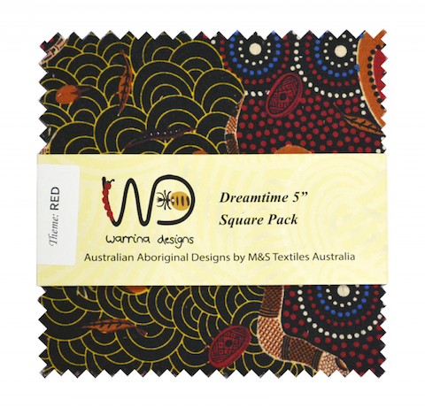 "The Dreamtime 5"" Square packs in red are comprised of 20 different prints of Australian Aboriginal fabric, 2 squares of each print for a total of 40 squares."