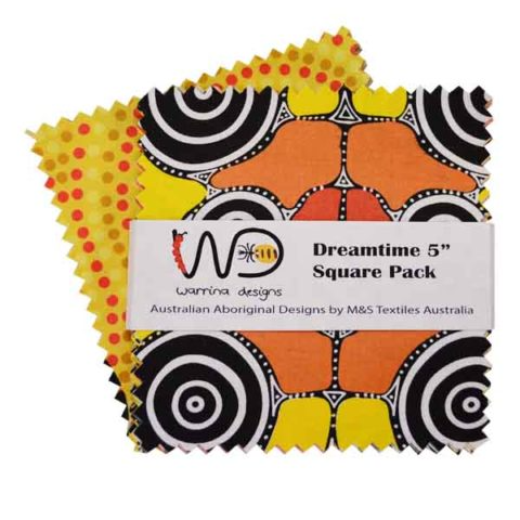 "The Dreamtime 5"" Square packs in yellow are comprised of 20 different prints of Australian Aboriginal fabric, 2 squares of each print for a total of 40 squares."