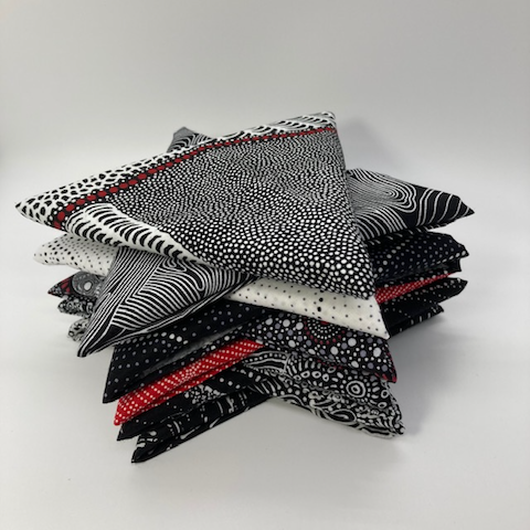 Australian Aboriginal Fabric Black, White and a smidge of Red 10 Fat Quarter Bundle