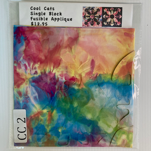 Hand Dyed Fabric by Fabrilish Cool Cat Precut Fusible Applique Block CC 2