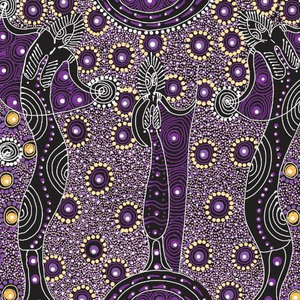 Dancing Spirits Purple Australian Aboriginal fabric depicts the wise old women that are the spirits dancing.